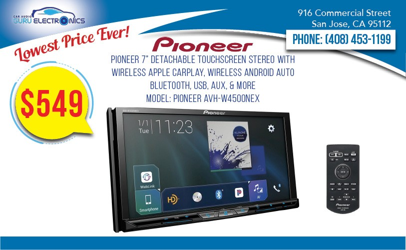 Pioneer Avh W4500nex 7 Detachable Touchscreen Stereo With Wireless